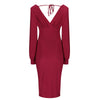 Red V Neck Long Sleeve Slinky Bodycon Midi Dress - Pretty Kitty Fashion