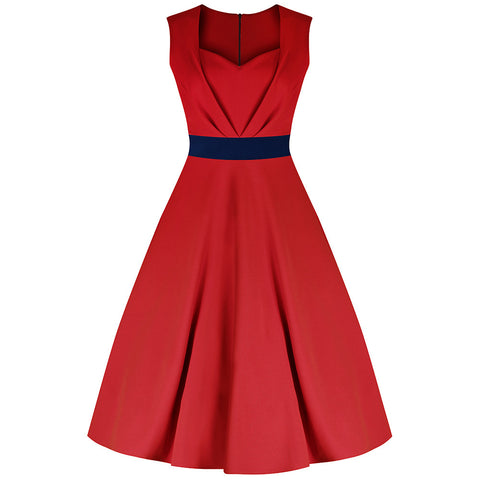 Red with Navy Blue Waist Band Classic 50s Swing Dress