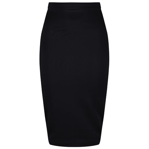 Classic Black Stretch Pencil Bodycon Midi Skirt