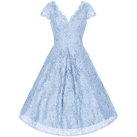 Ice Blue Embroidered Lace Swing Dress