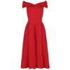 Red Crossover Vintage Bardot 50s Swing Dress - Pretty Kitty Fashion