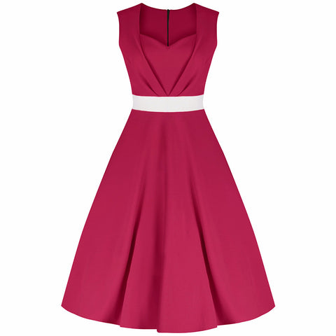 Fuschia Pink Raspberry 50s Swing Dress