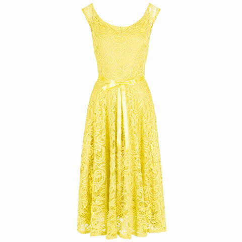 Yellow Lace Embroidered Belted Swing Dress