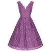 Dark Mauve Purple Embroidered Lace Sleeveless V Neck 50s Swing Dress