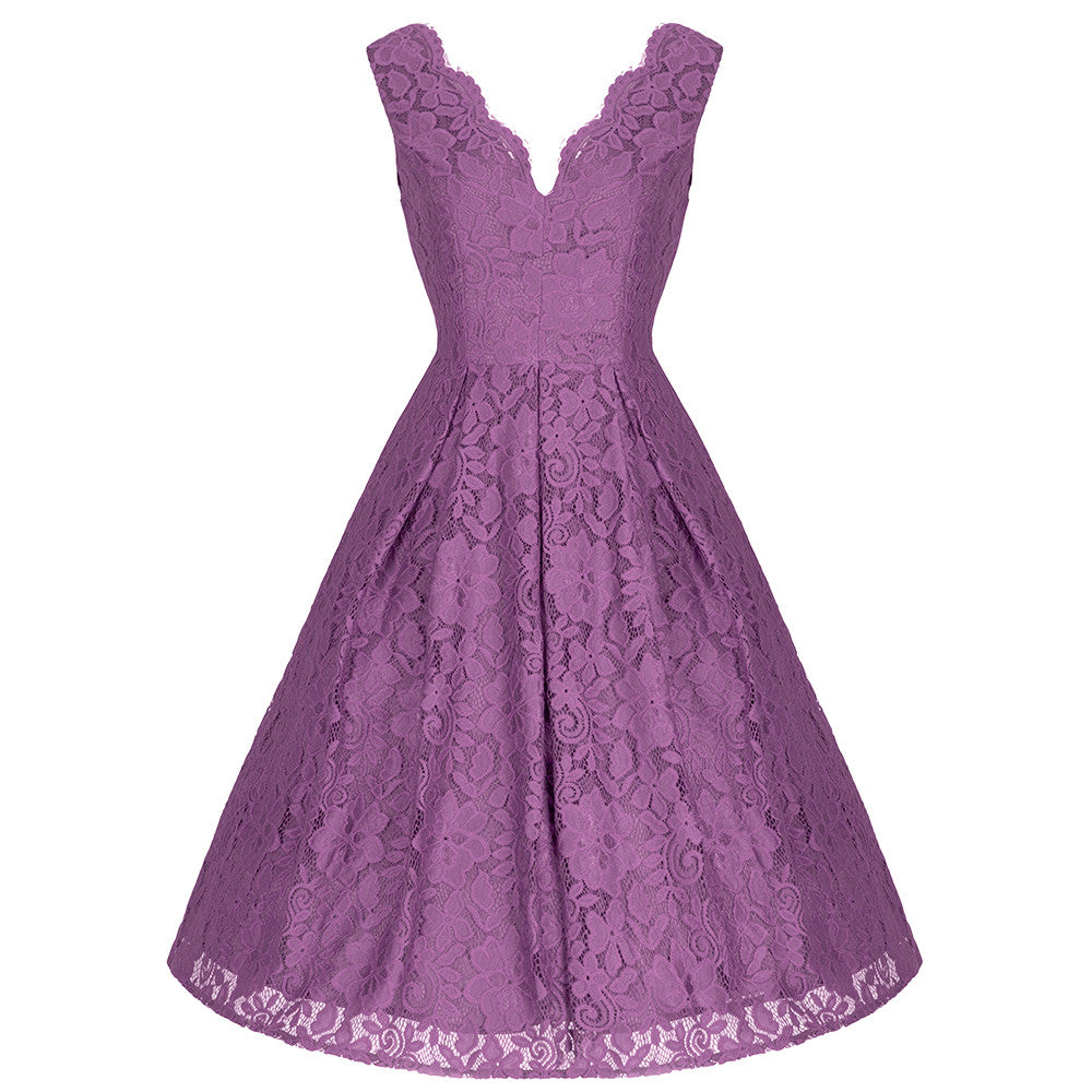 Dark Mauve Purple Embroidered Lace Sleeveless V Neck 50s Swing Dress ...