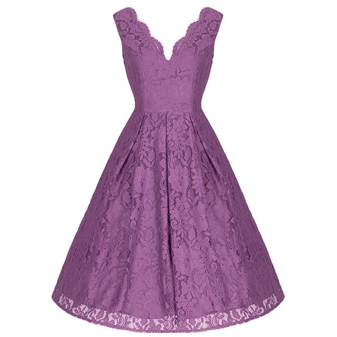 Dark Mauve Lace Embroidered Swing Dress