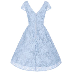 Ice Blue Embroidered Lace V Neck Capped Sleeve 50s Swing Dress