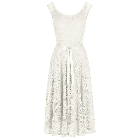 Ivory White Lace Embroidered Belted Wedding Swing Dress