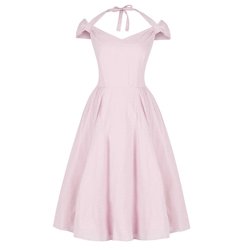 Pastel Pink Halter Strap Cotton Dress