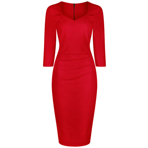 Red 3/4 Sleeve Bodycon Pencil Dress