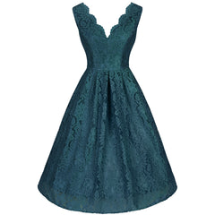 Teal Green Lace Embroidered Swing Dress