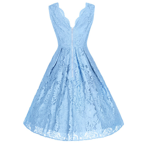 Sky Blue Embroidered Lace Sleeveless V Neck 50s Swing Dress