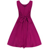 Purple Berry Wrap Belt Waistband Sleeveless Chiffon 50s Swing Dress