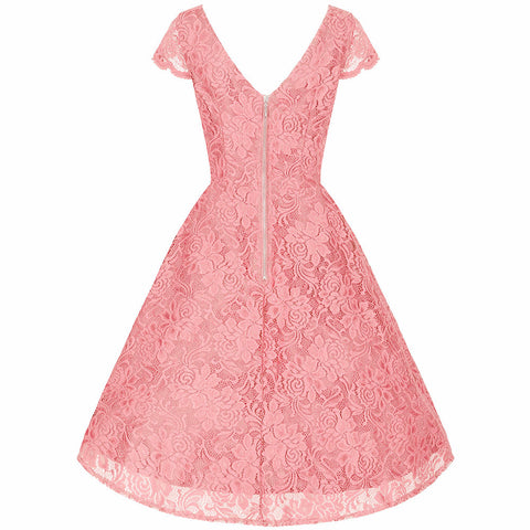 Light Pink Embroidered Lace V Neck Capped Sleeve 50s Swing Dress
