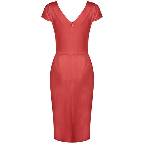Coral Capped Sleeve Bodycon Wiggle Dress