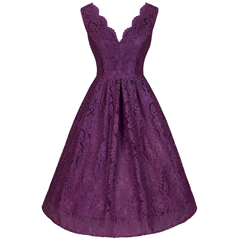 Jolie Moi Vintage 1950s Purple Lace Embroidered Swing