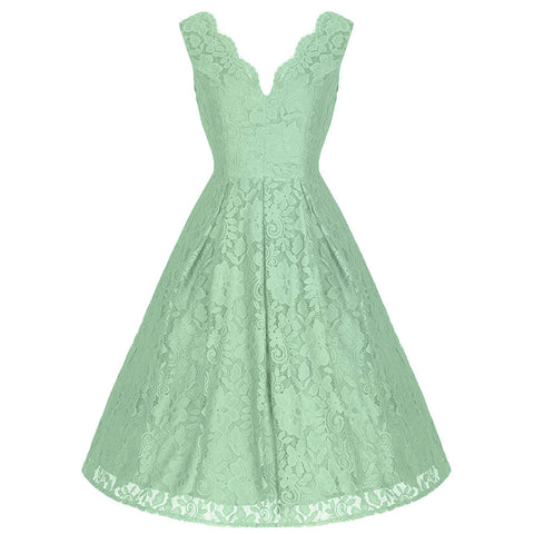 Light Green Embroidered Lace Sleeveless V Neck 50s Swing Dress