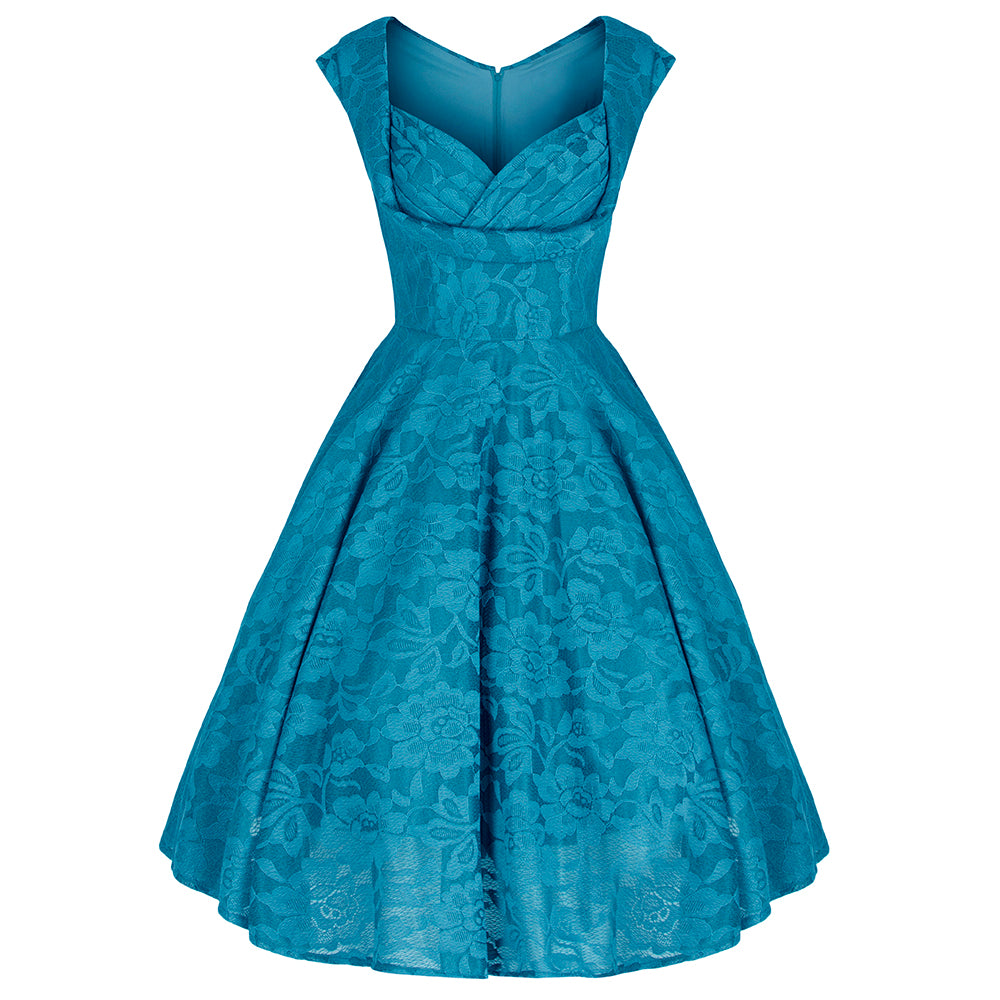 Dark Teal Blue Crossover Bust Embroidered Lace 50s Swing Dress ...