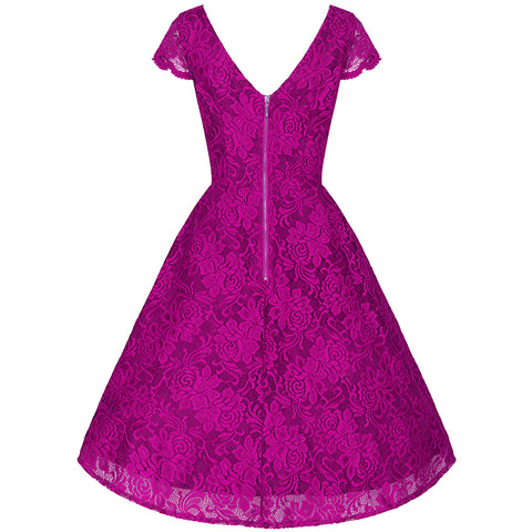 Magenta Embroidered Lace Swing Dress