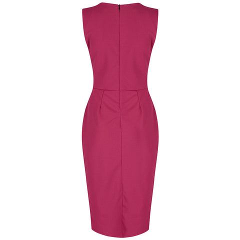 Raspberry Pink 40s Bodycon Hollywood Pencil Dress