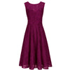 Berry Purple Bonded Lace Sleeveless Audrey 50s Swing Dress