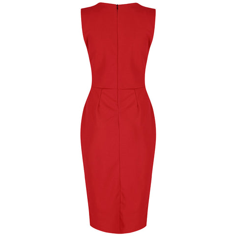 Red 40s Bodycon Hollywood Pencil Dress