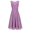 Mauve Purple Bonded Lace Sleeveless Audrey 50s Swing Dress