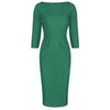 Emerald Green 3/4 Sleeve Pleated Bodycon Pencil Dress