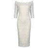 Ivory White Lace 3/4 Sleeve Vintage Bardot Bodycon Wiggle Wedding Dress