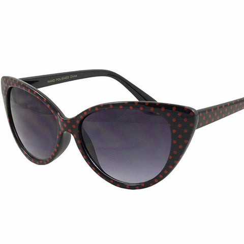 Black Red Polka Dot Vintage Sunglasses