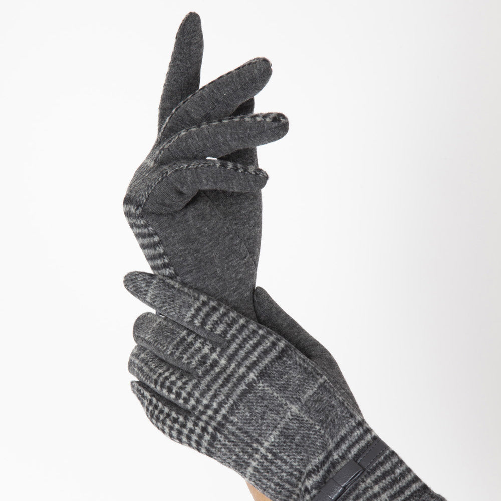 Vintage 40s Grey Plaid Gloves