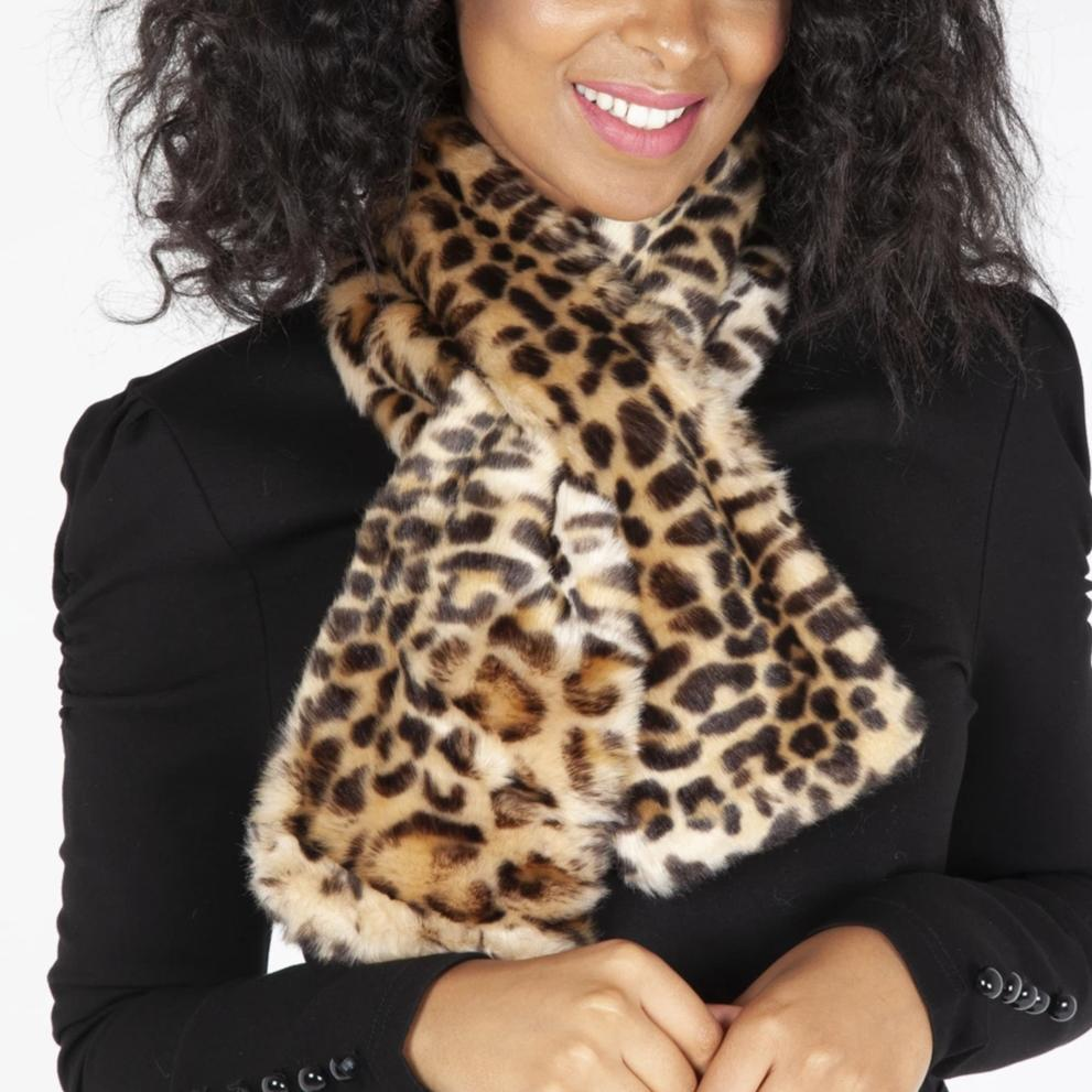Leopard Print Faux Fur Stole Scarf - Pretty Kitty Fashion