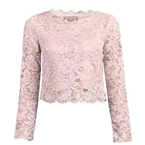Dusky Pink Scalloped Lace Long Sleeve Crop Top - Pretty Kitty Fashion