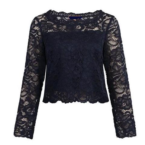 Navy Blue Scalloped Lace Long Sleeve Crop Top