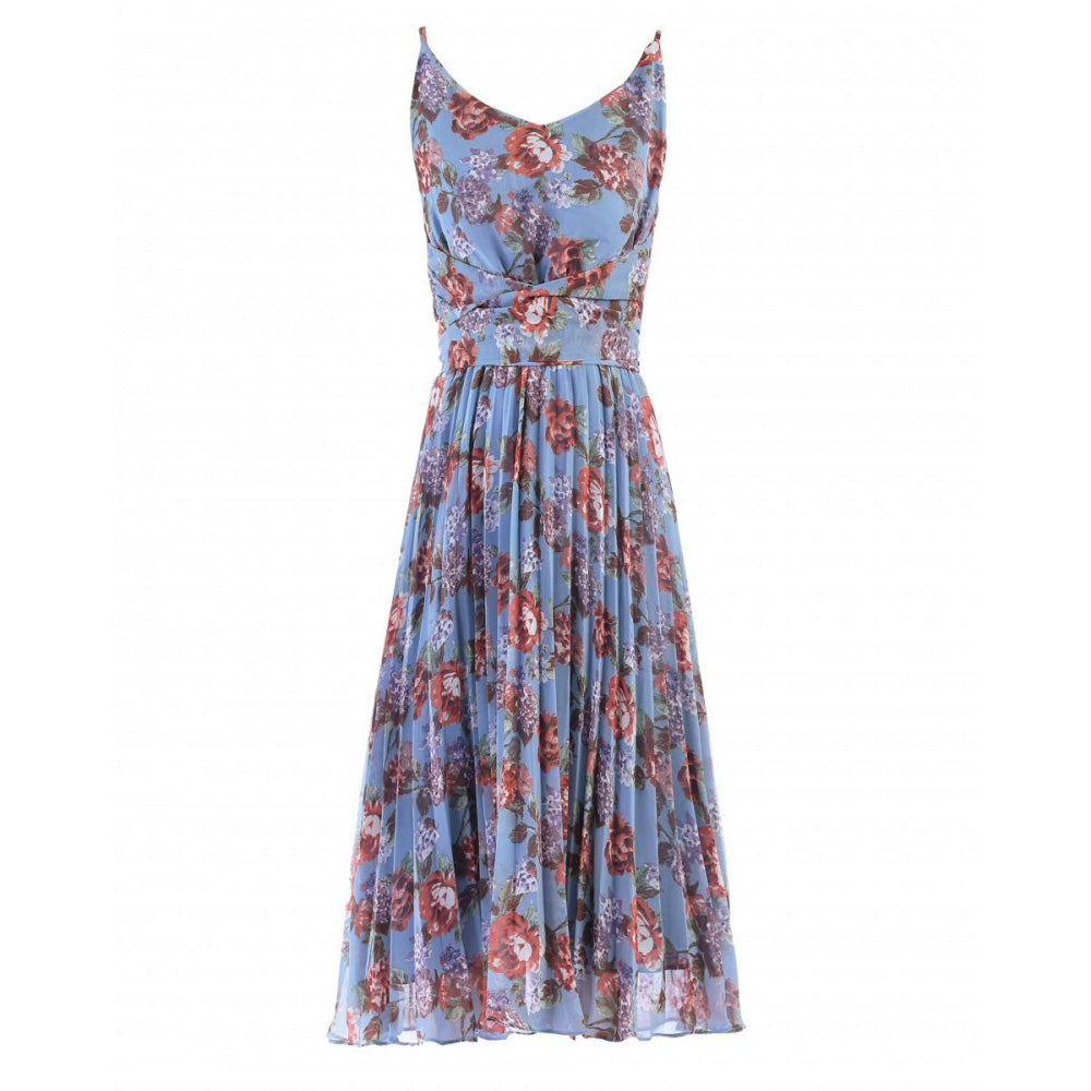 Aqua Floral V Neck Pleated Chiffon Summer Dress - Pretty Kitty Fashion