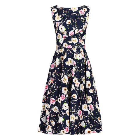 Vintage Navy Floral 50s Wrap Belt Swing Dress