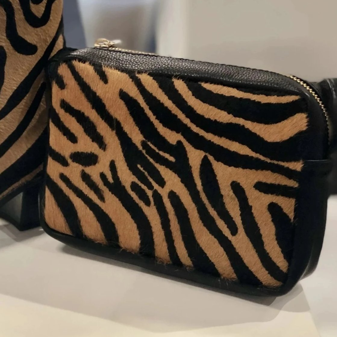 Genuine Leather Tiger Print Box Clutch Bag - Pretty Kitty Fashion