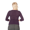Purple Aubergine Vintage 3/4 Sleeve Knitted Tie Detail Top