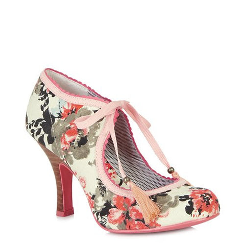 Ruby Shoo Willow Cream and Pink Floral Ribbon Tie Court Shoes