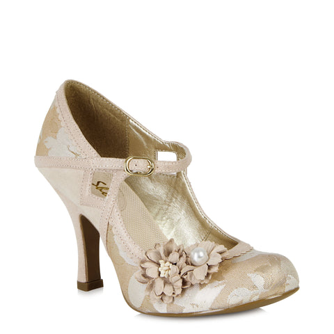 Ruby Shoo Yasmin Gold Mary Jane Heels