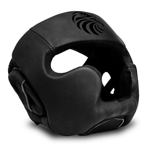 "Pro ""All Blacks"" Leather Boxing Head Guard"
