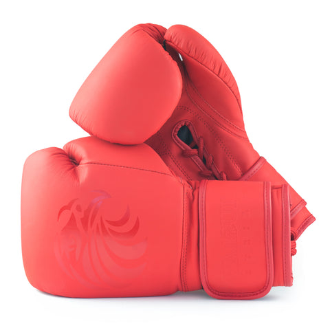 "Pro Vibrant Red ""Fire Fists"" Leather Boxing Gloves"