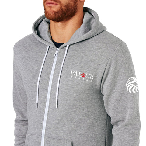 Valour Strike Grey Sweatsuit Zip Up Hoodie. - Front