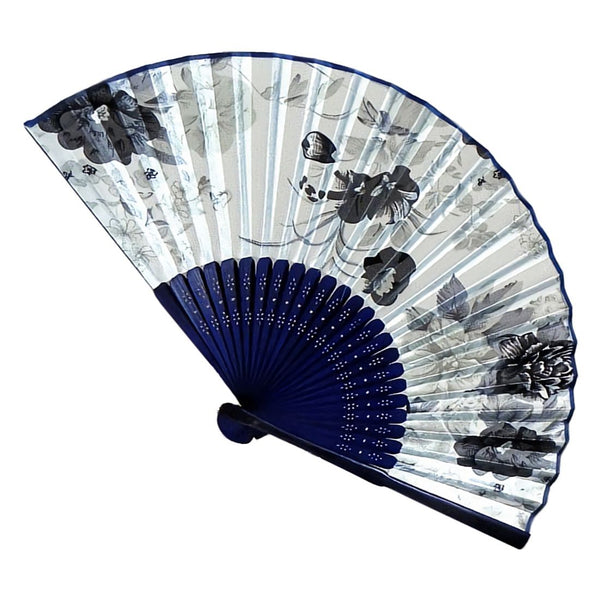 Fabric Chinese Style Floral Pattern Dancing Folding Hand Fan White B4C4