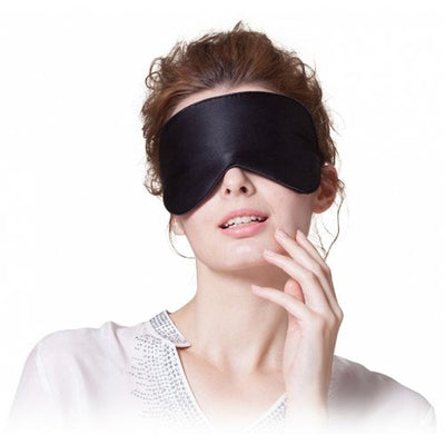 Sleeping Eye Mask Silk Eyeshade Cover Shade Travel Patch Women Men Soft Portable Blindfold Super Smooth - BLACK