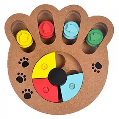 Multifunction Wooden Claw Print Toy / Feeder for Pet Dog - WOOD
