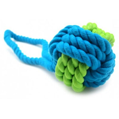 Rubber Tooth Rope Ball Cotton Rope Toy Dog ??molar Cleaning Teeth Training Interactive Supplies - BLUE IVY