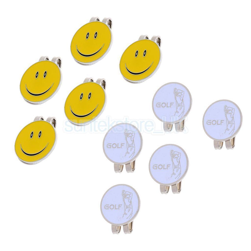 10Pcs/Pack Golfer Smile Face Pattern Magnetic Cap Clip Golf Ball Marker Gift