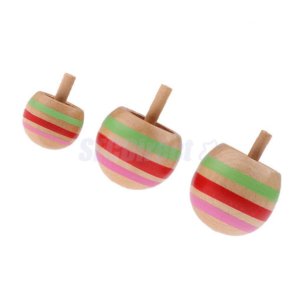 3Pcs Wooden Selfstabilizing Rotating Gyro Inverted Spinning Top Classic Toys