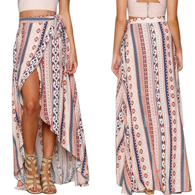 2 Pieces Girls Floral Long Maxi Skirt Casual Summer Beach Wrap Sun Dress